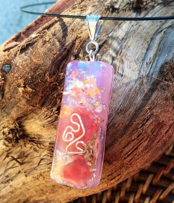 Violet Flame Orgonite® Healing Wand- Red Quartz Fairy Magic Orgone Generator Pendant- Cleansing and Weight Loss- Magick Orgonite® Talisman