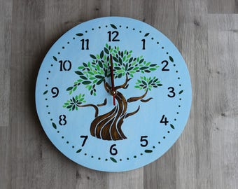 wall clock hand painted tree