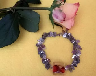 leaf bracelet and red square glass bead