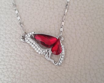Red stone and rhinestone Butterfly wing necklace