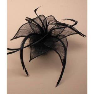 Black Fascinator. Black fabric mesh flower & feathers fascinator on a forked clip / brooch pin. Wedding Fascinator, Black Headdress