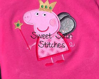 Inspired Peppa Pig Applique Design, Pig Machine Applique Embroidery Design, Peppa Pig Fairy Wings Embroidery design
