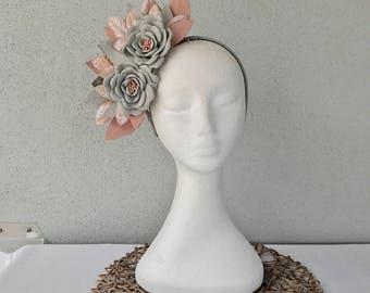 Ladies soft grey & dusty pink leather floral crown headband fascinator