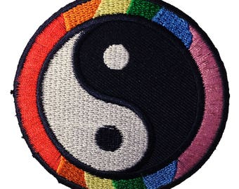 Patch/Ironing-yin yang Spiritual-colorful-Ø 7.5 cm-by catch-the-Patch ® patch appliqué applications for ironing application patches patch