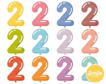 Number Two Balloon Clipart Illustration for Commercial Use   0507