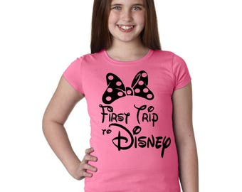 Girl's Disney Shirt First Trip to Disney with Minnie Mouse Bow in a Variety of Colors - Great for trip to Disney World or Disneyland