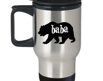 Baba Bear Travel Mug - Baba Gift - Funny Novelty Insulated Tumbler Coffee Cup