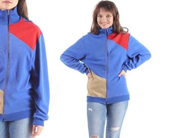 RETRO Zip Up Sweatshirt Track Jacket 80s ZIPPER Jumper Blue Red Beige Color Block Print Retro Oldschool Jumper Women Zip Up Large