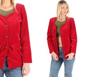 Red Velvet Blazer Jacket 80s Velvet Royal Burgundy Jacket Tailored Vintage 1980s Colarless Sweetheart Neckline Burgundy Jacket Retro Medium