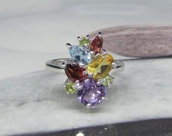 Women's ring in silver and natural gemstones, Amethyst, Garnet, Peridot, Topaz, Citrine size 52