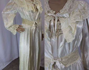 40s antique cream white rayon lace night gown with matching long overcoat size 34 / small