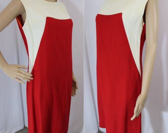 70s vintage red and white angled weaved linen lined wiggle dress modern size 8 - 10 medium