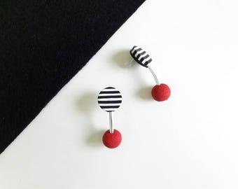 Beautiful polymer clay earrings, modern earrings,stud earrings,red earrings,chanky earrings,striped stud earrings