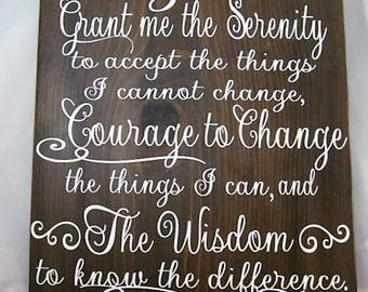 Stunning Wood Sign, The Serenity Prayer, God Grant me the Serenity, Courage & Wisdom, Rustic Wall Decor, Home Decor, Makes the Ideal Gift!