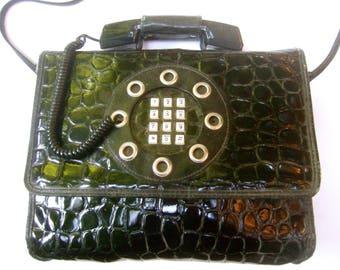 Unique Mod Black Vinyl Telephone Shoulder Bag c 1980s