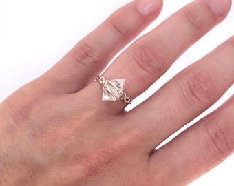 Herkimer Ring,Raw wire wrapped crystal ring, Raw gemstone jewelry,Healing stone jewelry,Raw diamond ring,Hand wrapped quartz ring