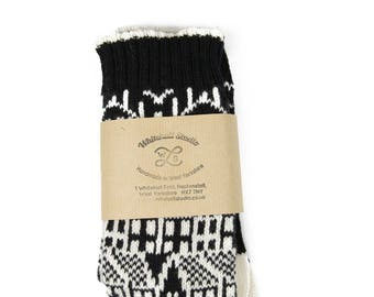 Cashmere knitted socks - Hebden Houses fairisle pattern - luxury knitted socks - black socks - cashmere & lambswool