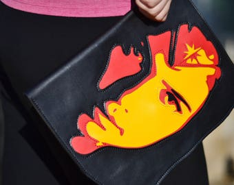 Black red and yellow leather collage clutch. Celebrity portrait Gal Gadot as Wonder Woman, personalized ladies evening handbag