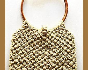 Awesome 70's Beige Macrame Shoulder Bag