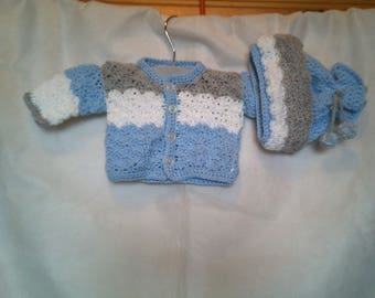 Crochet Baby Jacket & Hat