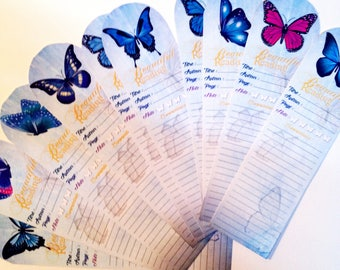 Set of 10 sheets of reading bookmark: butterflies