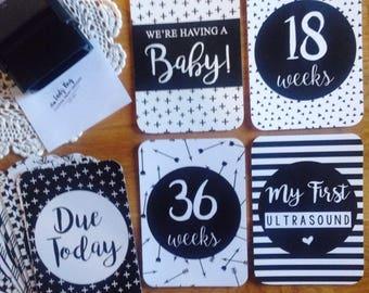 Pregnancy | Milestone Cards | Monochrome Design | Photo Prop | Memories | 30 Card Set