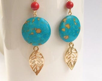 Turquoise disc Coin Earrings, Gold leaf Earrings