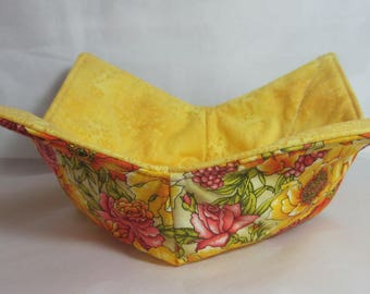 12 Inch Microwave Bowl Cozy/Holder. Beautiful Yellow and Orange Florals and Yellow on Yellow Floral Print. Hostess or Housewarming Gift