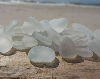 "30 pcs white Genuine Sea Glass Bulk -TINY Sea Glass 0,2-0,6""-Jewelry quality -For Jewelry Art, Mosaic, Home -Wedding decor#28B#"