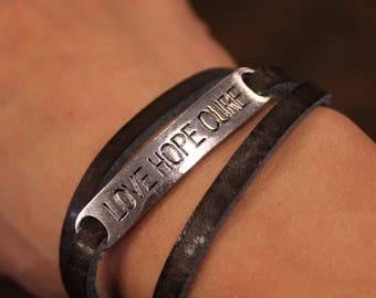 Love, Hope & Cure Leather Wrap Bracelet