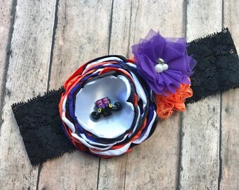 Halloween headband - halloween baby headband- witch headband - trick or treat headband - girl  headband - halloween bow headband