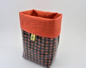 Basket / tidy fabric (Brown and coral)