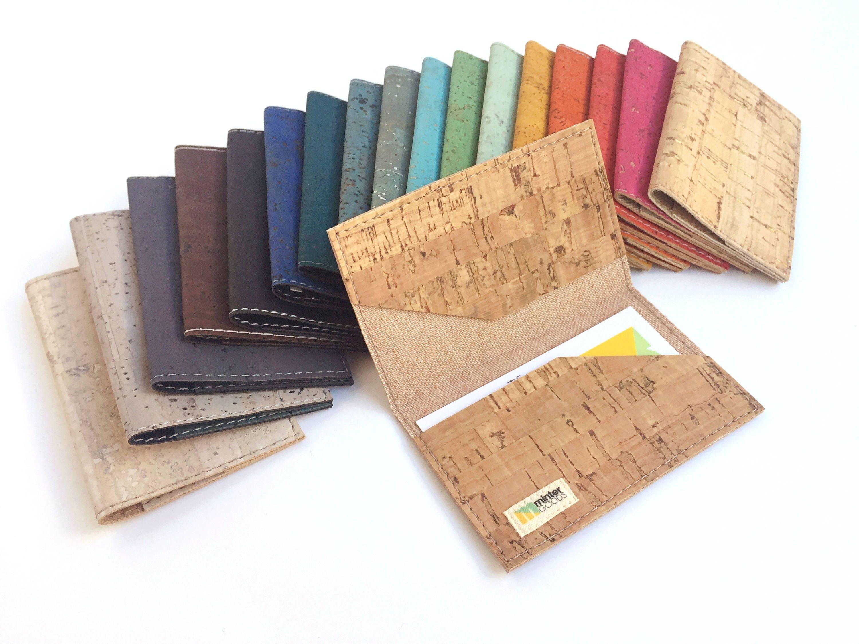 Cork business card case, orange cork fabric. Card case. Card holder ...