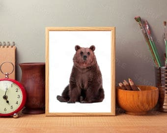 Brown Bear Print, Woodlands Bear Art, Brown Bear Wall Art, Woodlands Home Decor, Brown and White Animal Print, Printable Brown Bear