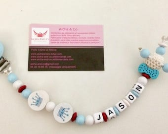 Custom bow tie pacifier clip bead crochet and red white blue crowns