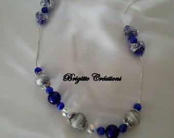 """Murano glass - """"Ca oro"""" Choker Necklace blue and silver foil."""