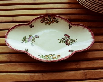 Ravier Longwy flower decor - hand painted - made in France - vintage -