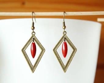 Bronze enamelled red sequin shuttle and diamond earrings