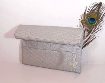 Evening clutch bag, wedding clutch for bride, foldover leather clutch, silver leather purse, gift for bridesmaids, wedding silver clutch bag