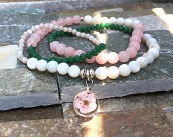 Real flower bracelet shell beads jade Facett summer