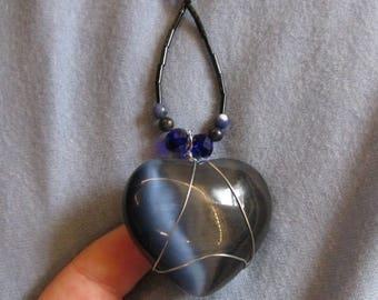Dark Blue Crystal Heart Necklace