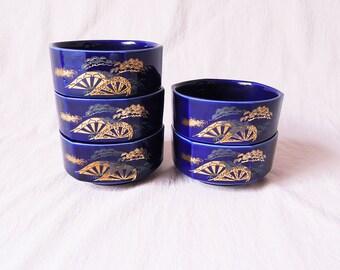 1980s Japanese vintage porcelain bowls Set of 5
