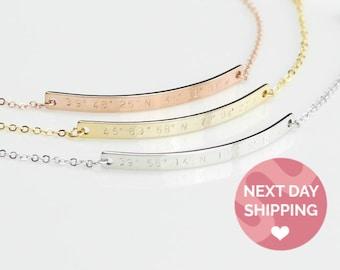 Custom Coordinates Bracelet Anniversary Gift Latitude Longitude Personalized Engraved Bracelet Bridesmaid Gift Best Friend Bracelet