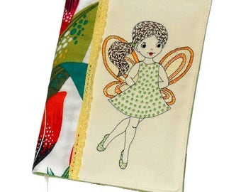 Fairy Fabric Book Cover, Handmade Book Case, Travel Journal, Reusable Notebook Case, Textile Diary Cover, Colorful Embroidery, Gift for Her