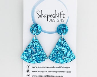 Chunky Blue Glitter Dangle Earrings