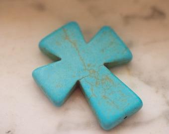 Magnesite Blue Cross Pendant Bead Turquoise Howlite Blue Cross 50mmx40mm Top to Bottom Center Drilled