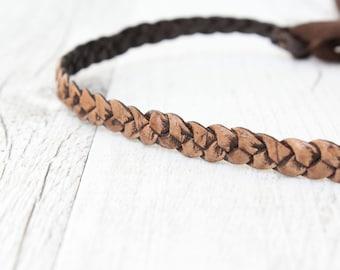 Hairband LEATHER // brown-black *antik