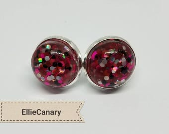 Hot Pink and Black Confetti Resin Cabochon 12 mm Earring