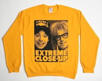 "Wayne's World ""Extreme Close-Up"" Sweatshirt - Aurora IL 1990s Movie Sweater - Mens Womens - Holiday Sweater Pullover Oversize Sweat Shirt"