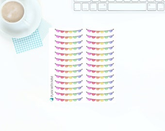 26 Multi-Coloured Rainbow Bunting Stickers for Erin Condren Vertical LifePlanner